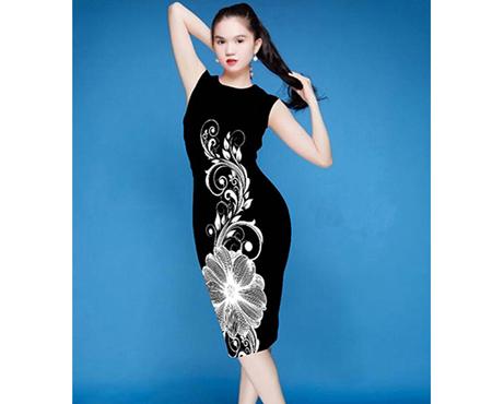Đầm in 3D hoa lan trắng - MD1362