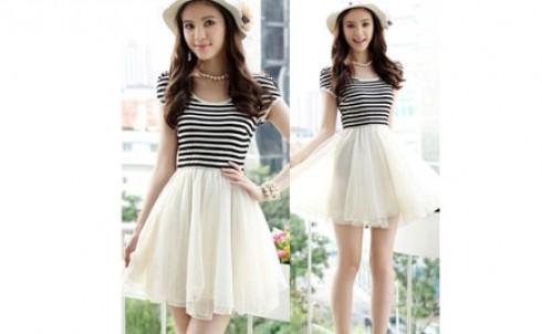 Đầm xòe chiffon áo sọc, trẻ trung, năng động, giá chỉ 150.000đ - MD85