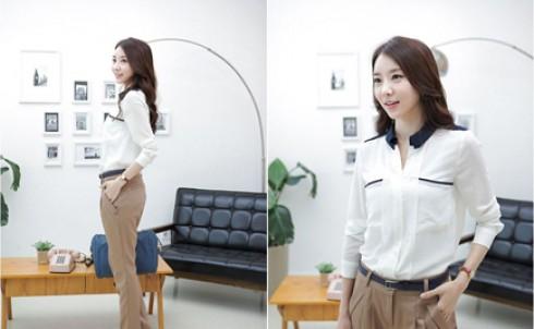 Áo sơ mi viền cổ trắng phong cách Hàn Quốc, giá chỉ 115.000đ - MD83