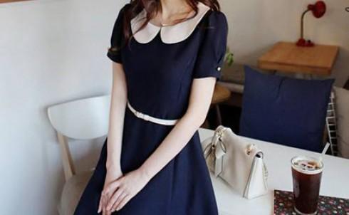 Đầm Vintage cổ điển xanh navy, giá chỉ 155.000đ