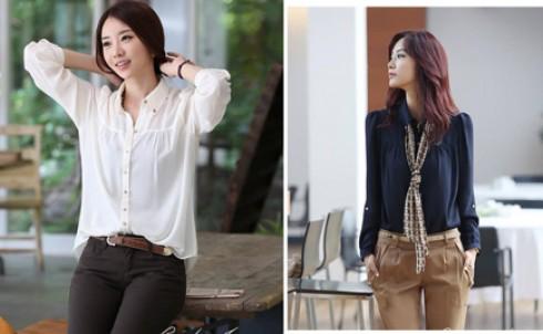 Áo sơ mi vai nhún Hàn Quốc, tôn vinh vẻ đẹp gợi cảm của bạn gái, giá chỉ 119.000đ - MD67