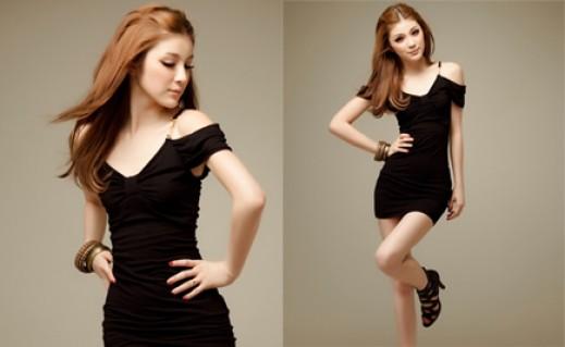 Đầm bodycon đen rớt vai