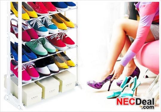 Kệ để giày 10 tầng khung kim loại không gỉ cùng các khớp nối bằng nhựa chắc chắn, sắp xếp 30 đôi giày dép