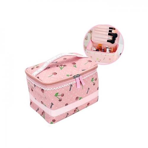 Túi đựng mỹ phẩm họa tiết cherry chống thấm có quai NĐX1054