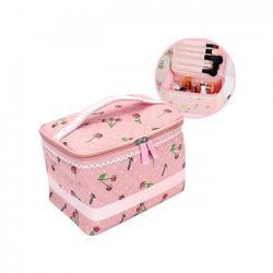 Nhà Đẹp Xinh - Tui dung my pham hoa tiet cherry chong tham co quai NDX1054