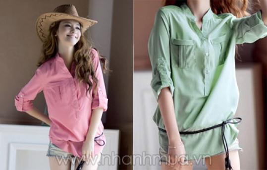 Thời trang, phong cách cùng Áo sơ mi Ruby cổ trụ tay dài Hàn Quốc – chất liệu Tone ...