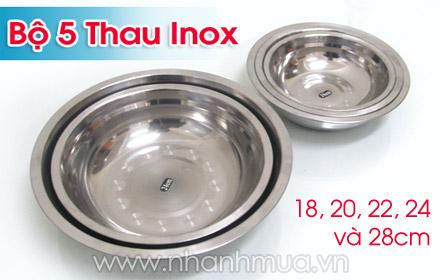 Nhanh Mua - Tien dung, ben dep voi Bo 5 thau Inox sang dep – chat lieu inox nhe, 5 kich co khac...
