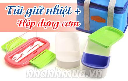 Nhanh Mua - Giu thuc an luon nong hoi, thom ngon voi Combo Tui giu nhiet + hop com tien dung - ...