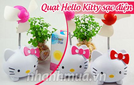 Nhỏ gọn, tiện lợi và ngộ nghĩnh với Quạt sạc Hello Kitty - Cánh quạt làm bằng nhựa ...