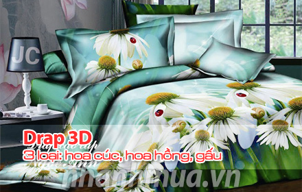 Nhanh Mua - Phong ngu them sang trong voi Drap 3D – chat lieu cotton hon hop, mang den cho gia ...