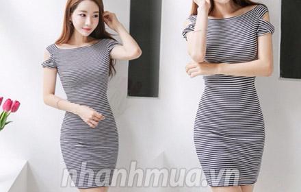 Thể hiện phong cách thời trang tinh tế, cuốn hút với Đầm body sọc ngang Hàn Quốc - ...