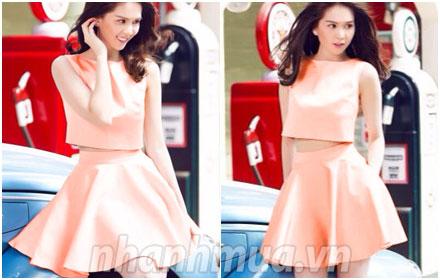 Trẻ trung và sành điệu với Set croptop + chân váy pastel Ngọc Trinh – Chất liệu kak...