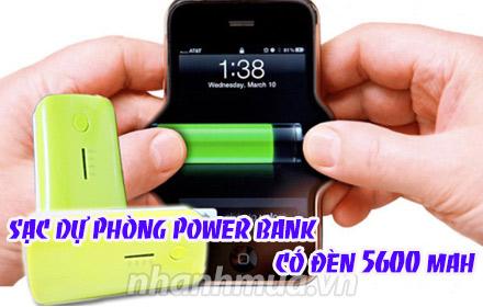 Pin sạc dự phòng Power Bank 5600mAh (có đèn) với thiết kế nhỏ gọn có thể bỏ vào túi...