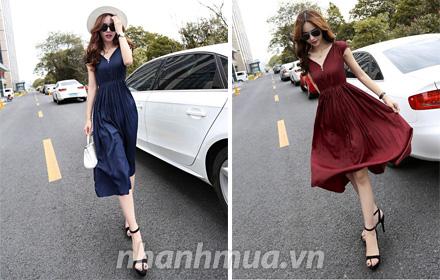 Nhanh Mua - Diu dang hon voi Dam Vintage thun eo- Thiet ke nu tinh, chat lieu thun co gian- Man...