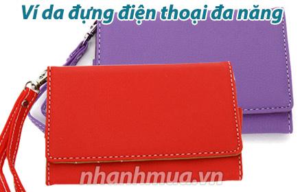 Nhanh Mua - Vi da dung dien thoai da nang - Chat lieu da PU ben dep, mau sac tuoi sang cung thi...