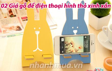 Nhanh Mua - Combo 02 Gia go de dien thoai hinh tho xinh xan - Thiet ke ngo nghinh, chat go ep s...