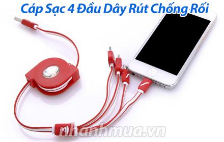 Nhanh Mua - Cap sac 4 dau day rut chong roi – Tuong thich cho hau het cac dong dien thoai, de d...