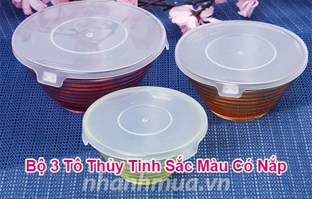 Nhanh Mua - Bo 3 to thuy tinh sac mau co nap tien dung - Kieu dang xinh xan, mau sac bat mat, d...
