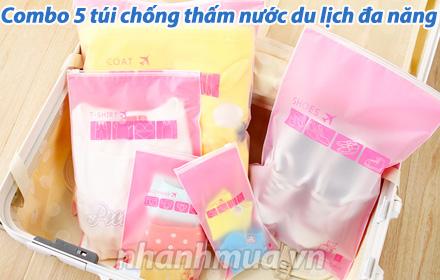 Nhanh Mua - Combo 5 tui chong tham nuoc du lich da nang - Dung de phan loai vat dung, do dac ti...