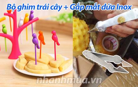 Nhanh Mua - Combo Bo ghim trai cay + Gap mat dua Inox ban dong hanh khong the thieu cua gioi ch...