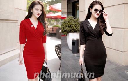 Nhanh Mua - Sang trong, thoi trang voi Dam body co vest kem cai ao - Chat thun laza day dan, co...