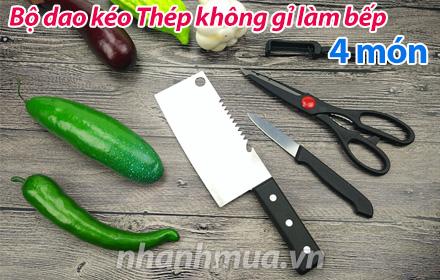 Nhanh Mua - Bo dao keo lam bep 4 mon - Tat ca cac luoi duoc làm bàng thep khong gi sáng bón...