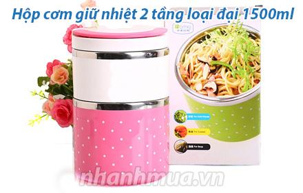 Nhanh Mua - Hop com giu nhiet 2 tang loai lon 1500ml kieu dang trang nha cung chat lieu cao cap...