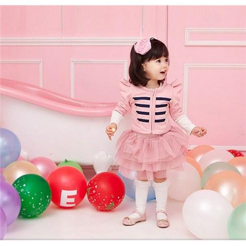 Áo khoác cho bé kiểu công chúa phối sọc