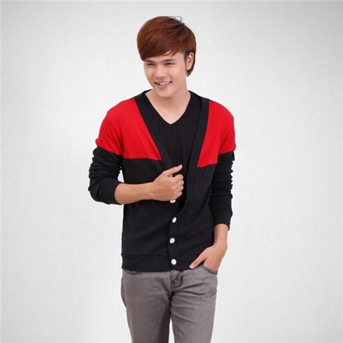 Áo khoác nam cardigan phối màu