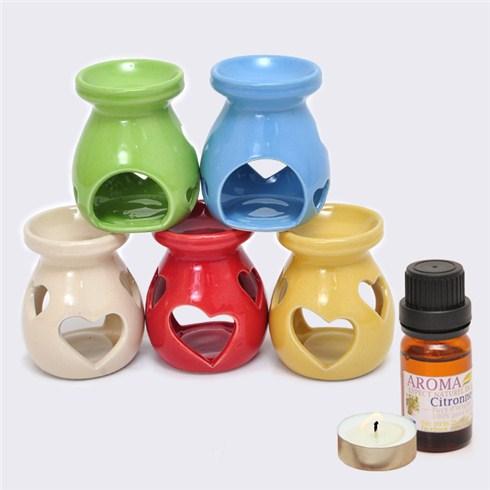 Combo tinh dầu Aroma hương sả/cam + đèn đốt + nến nhập khẩu Pháp