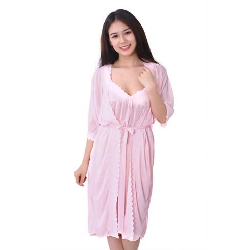 Đầm ngủ 2 dây kèm áo khoác kiểu Hàn Quốc