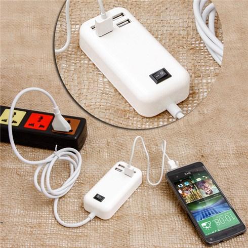 Sạc USB đa năng 4 cổng có công tắc và cầu chì ngắt điện