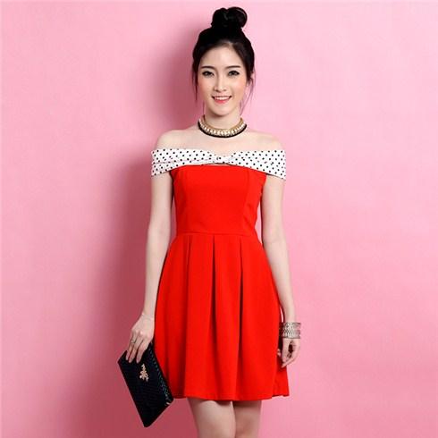 Đầm xòe trễ vai nơ xinh - Thời trang Misa