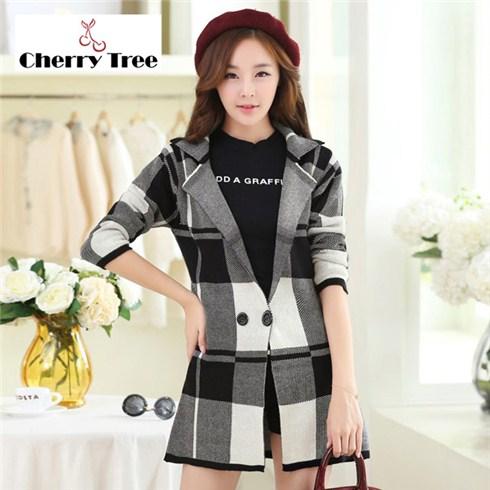 Áo khoác len form dài ô vuông Cherry