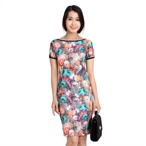 Đầm hoa họa tiết 3D