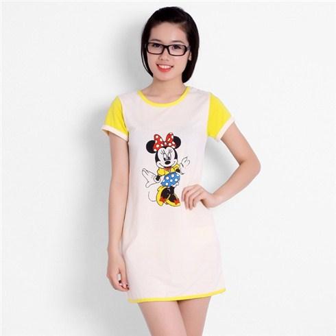 Đầm mặc nhà họa tiết Mickey phối viền