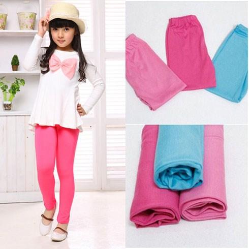 Quần legging sắc màu cho bé gái từ 03 - 07 tuổi (03 quần)