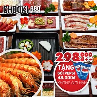 Nhóm Mua - Buffet Chooki BBQ & Hotpot tang Pepsi uong khong gioi han
