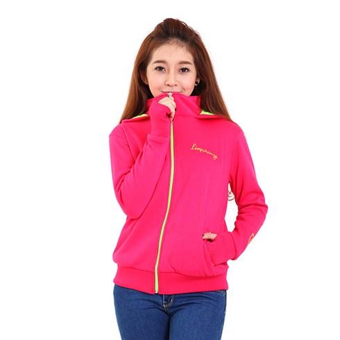 Áo khoác nỉ Hàn Quốc dây kéo phối màu - màu hồng
