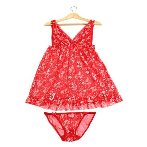 Đầm ngủ lưới RBI bông mai màu đỏ