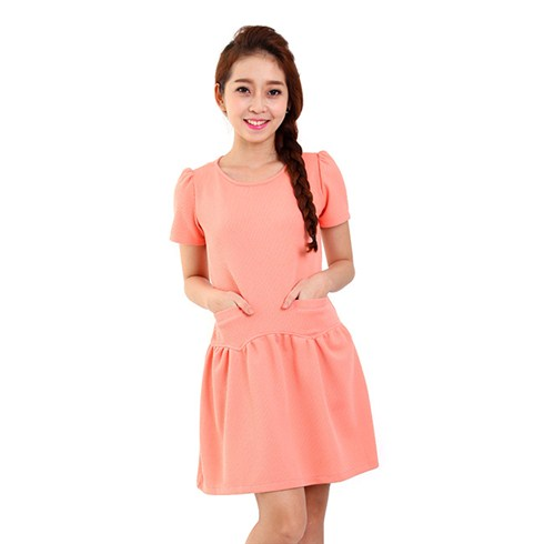 Đầm xòe hai túi thời trang - màu hồng cam
