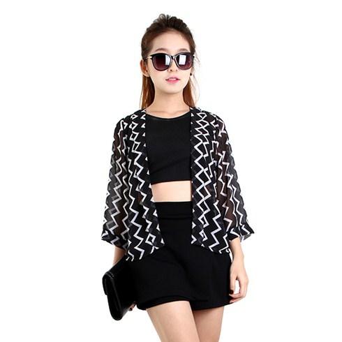 Áo khoác kimono họa tiết ziczac thời trang