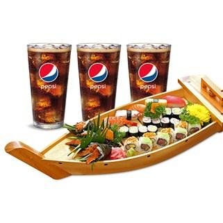 Nhóm Mua - Combo thuyen sushi, maki, temaki + 3 ly pepsi tai Haha Sushi