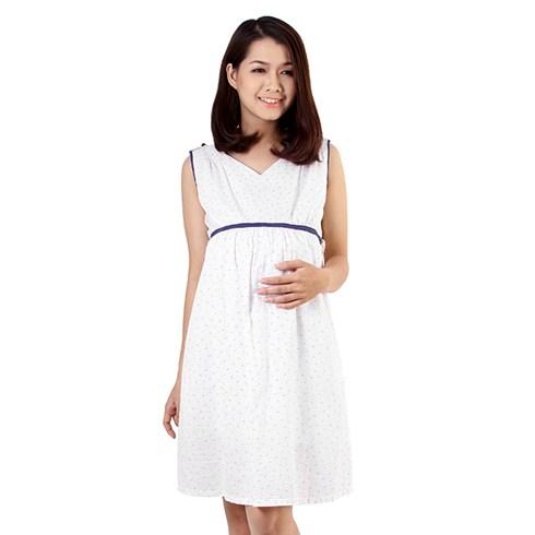 Đầm bầu hoa nhí xanh - nền trắng