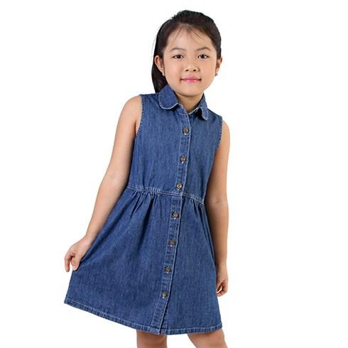 Đầm denim màu xanh đậm cho bé gái