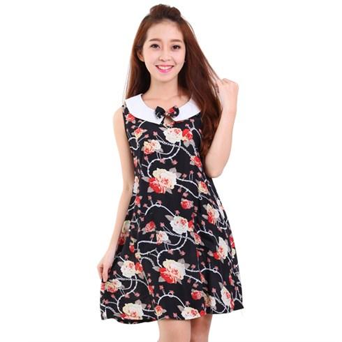 Đầm suông mặc nhà cổ peter pan