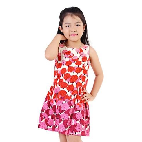 Đầm kaki hoa cẩm chướng màu hồng cho bé