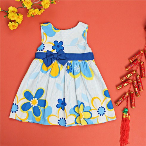 Đầm xòe in hoa phối nơ cho bé gái từ 1 đến 5 tuổi