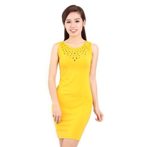 Đầm thun body cắt lazer màu vàng