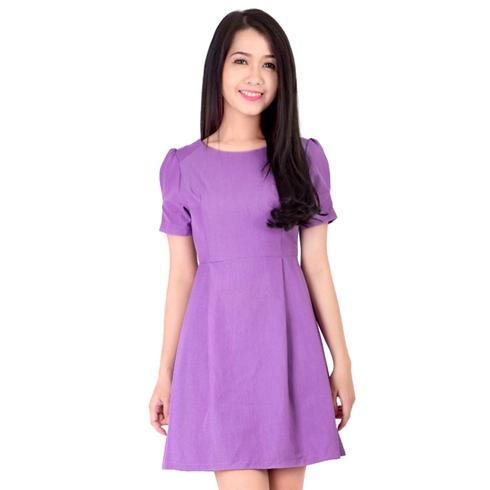Đầm xòe linen tay phồng màu tím - Khánh Linh